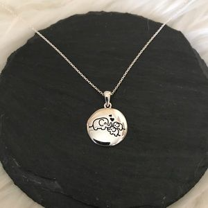 Sterling silver Mama Elephant and baby necklace